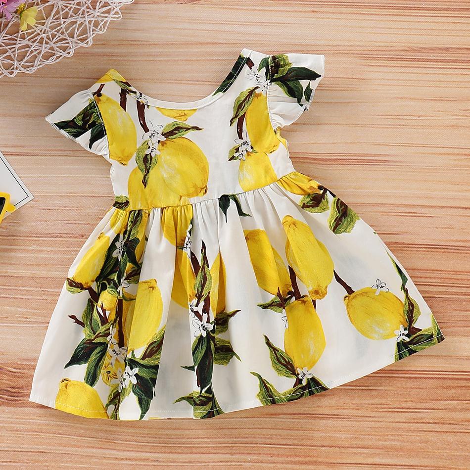 3ac5e33c2fa0 Toddler Baby/ Toddler Girl's Lemon Print Flutter-sleeve Dress at ...