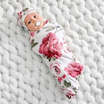Rose Print Swaddle Blanket and Hat