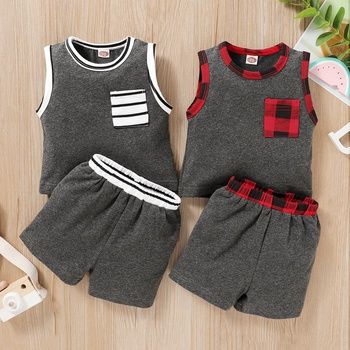 Baby Solid Sleeveless Tank and Shorts Set with Pocket