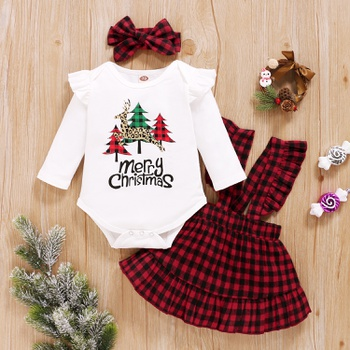 Baby Girl Plaid & Elk Christmas Sweet Suit-dress
