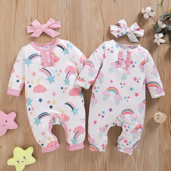 2-piece Baby Rainbow Cloud Jumpsuit and Headband Set