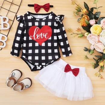 1pc Baby Girl Long-sleeve Romper Letter Sweet Suit-dress