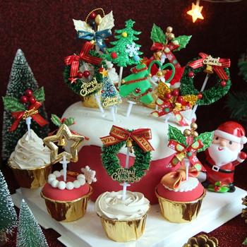 3PCS Merry Christmas Cake Topper Cupcake Toppers Muffin Santa Claus Christmas Tree Snowman Cute Fruit Cake Picks Xmas Supplies