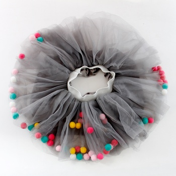 Chic Colorful Pompom Decor Tutu Skirt for Toddler Girl and Girl