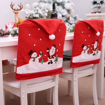 Christmas Santa Claus Snowman Print Chair Coverup Decor