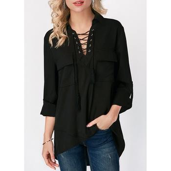 V-neck Black Plain long sleeve casual Pullover shirt
