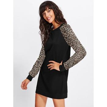 Round collar Leopard Black high-waist Normal shoulder H Midi Dress