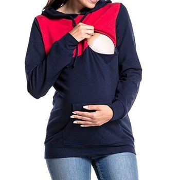 Fashionable Color Blocked Maternity Hoodie
