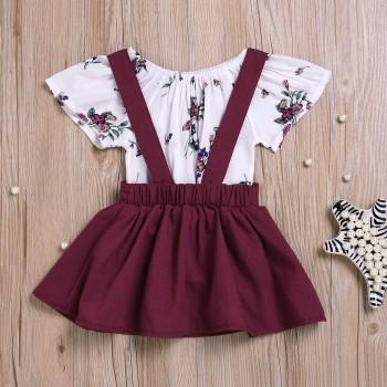 2-piece Elegant Patterned Short-sleeve Bodysuit and Suspender Skirt Set