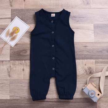 Comfy Solid Sleeveless Jumpsuit for Baby Boy