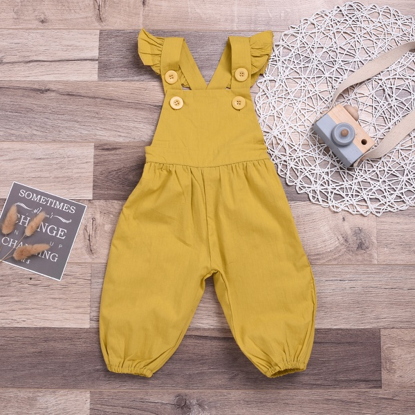 Comfy Solid Ruffled Striped Backless Jumpsuit for Baby and Toddler