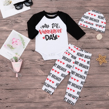 Baby's MY 1ST VALENTINE'S DAY Bodysuit, Heart Pants and Hat Set
