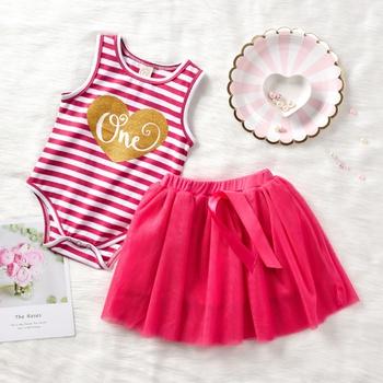 f8e37b3e5cf Baby Girl s Birthday Striped Letter Heart Print Bodysuit and Tulle Skirt