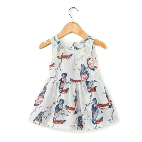 56e3f6c84d72 Baby Stylish Bird Pattern Sleeveless Dress for Baby and Toddler Girl ...