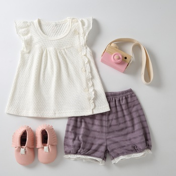 Comfy Ruffled Short-sleeve Top and Striped Shorts Set for Baby and Toddler