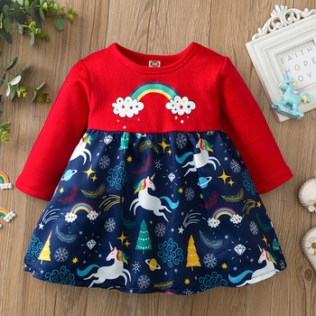 Baby Girl Rainbow & Unicorn Sweet Dress Tutu Children's Princess Dresses Cotton Long-sleeve Outfit