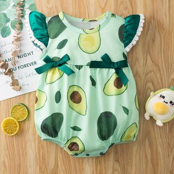 Baby Avocado Bowknot Ruffled Romper