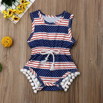 d2b400c52b0f Baby Girls 4th July Independence day Bodysuit