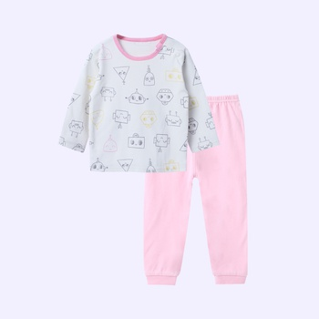 Soft Cartoon Print Long-sleeve Top and Pants Set for Baby