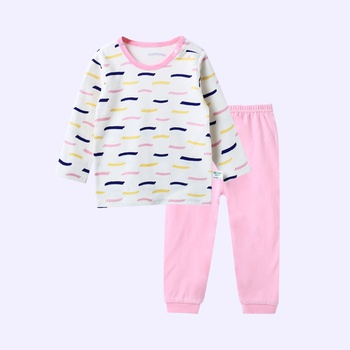 Cute Allover Line Long-sleeve Top and Pants for Baby