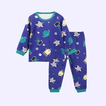 Casual Allover Cartoon Splice Long-sleeve Top and Pants for Baby