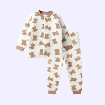 Warm Allover Bear Splice Layered Long-sleeve Top and Pants Pajamas