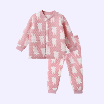 Warm Allover Rabbit Splice Layered Long-sleeve Top and Pants Pajamas