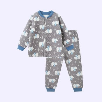 Warm Allover Bear Splice Layered Long-sleeve Top and Pants Set for Baby