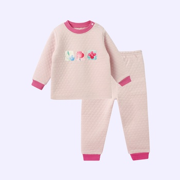 Warm Floral Print Splice Layered Long-sleeve Top and Pants Set for Baby and Toddler