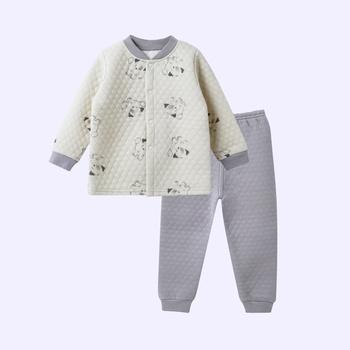 Warm Dog Print Splice Layered Long-sleeve Top and Pants Pajamas