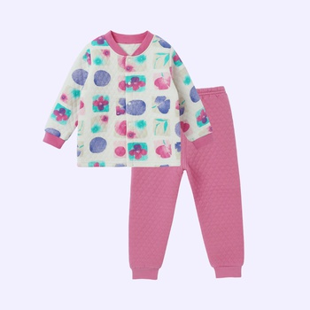 Warm Allover Splice Layered Long-sleeve Top and Pants Pajamas in Hot Pink for Baby