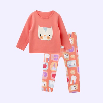 Lovely Cartoon Cat Print Long-sleeve Top and Pants for Baby and Toddler