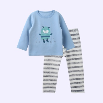 Lovely Cartoon Print Long-sleeve Top, Striped Pants for Baby and Toddler