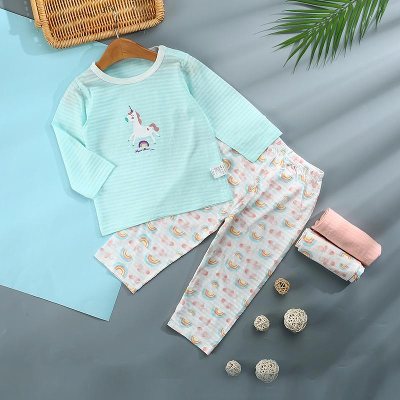 133446331 Kid Baby / Toddler Unicorn Rainbow Print Top and Pants Pajamas Set ...