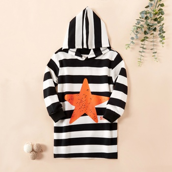 Fashionable Striped Stars Hooded Sweater Dress