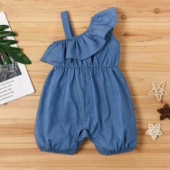 Baby Soft Denim Flounced Bodysuit