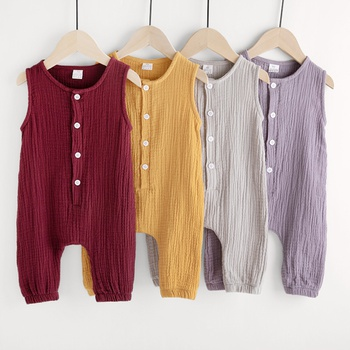 8edf824a75 Buttons Front Sleeveless Cotton Jumpsuit