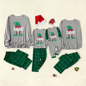 Christmas Family Matching Squad Top and Plaid Pants Pajamas Sets (Flame Resistant)