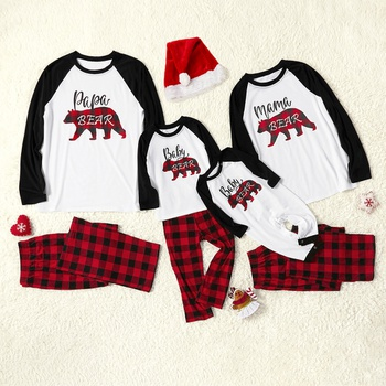 Plaid Bear Family Matching Pajamas Sets(Flame Resistant)