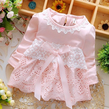 Baby / Toddler  Lace Decor  Long-sleeve Dress