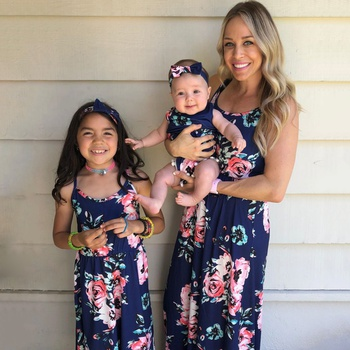 Dark Blue Printed Matching Dresses