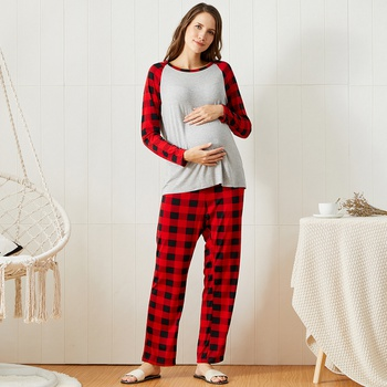 Christmas Plaid Long-sleeve Maternity Pajamas