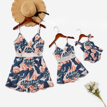 Mommy and Me flower Print Stitching Lace Tank Rompers