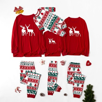 Christmas Deer Top and Patterned Pants Family Matching Pajamas Sets (Flame Resistant)