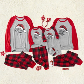 Christmas Hat Print and Plaid Family Matching Pajamas Sets (Flame Resistant)