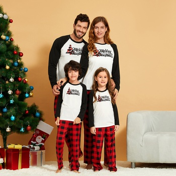 Plaid Christmas Tree and Letter Print Family Matching Pajamas Sets(Flame Resistant)