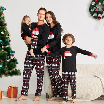 Santa Hat Pattern Family Matching Pajamas Sets (Flame Resistant)