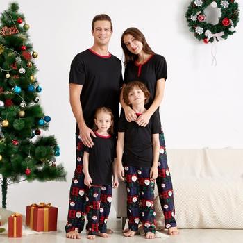 Family Matching Black Top and Santa Pants Christmas Pajamas Sets (Flame Resistant)