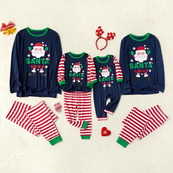 Merry Christmas Santa Squad Striped Family matching Pajamas Set(Flame resistant)