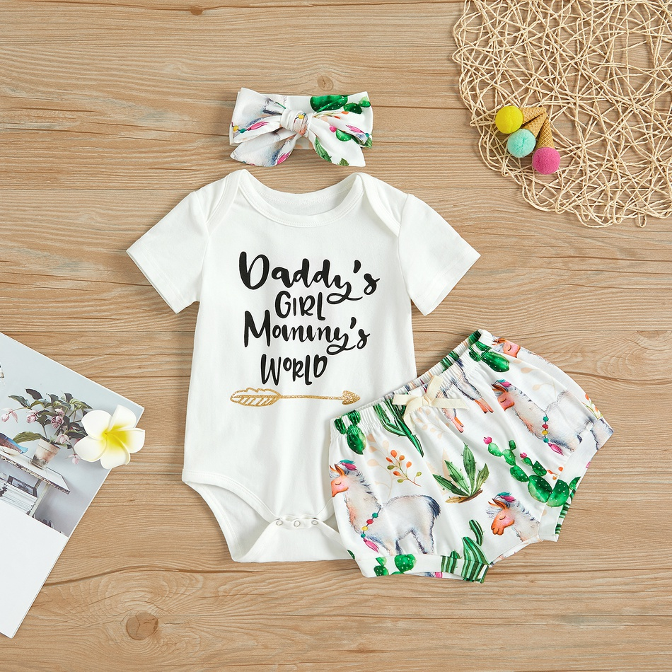 ade99504d 3-piece Letter Print Romper and Cactus Alpaca Shorts, Headband for Baby Girl